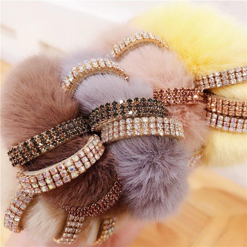 Han Guodong Door New Winter Joker Retention Delicate Drill Link Mink Fur Temperament Girl Elastic Hair Bands