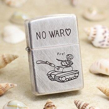 Genuine Zippo oil lighter copper windproof NO WAR silver tank cigarette Kerosene lighters Gift With anti-counterfeiting code