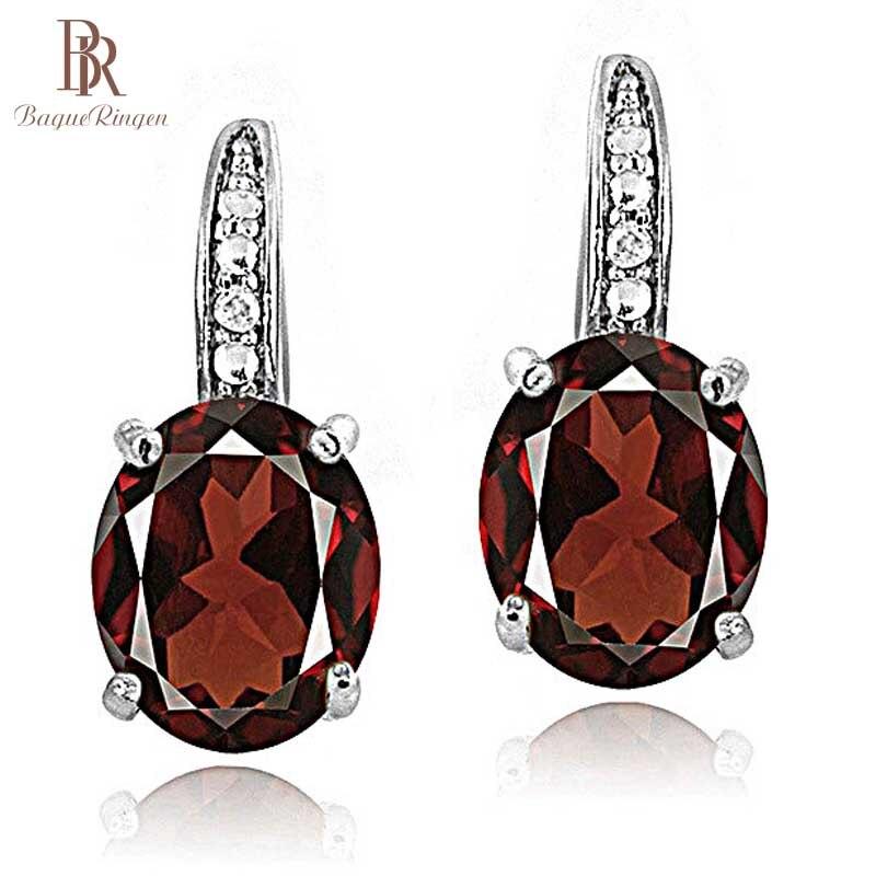Bague Ringen Luxury 925 Sterling Silver Earrings For Women Red Purple Yellow Gemstone Wedding Earrings With Stones Jewelry