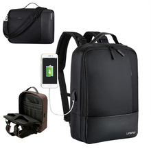 Multifunction Business Men Waterproof Computer Backpack USB Charging Travel Portable Women Laptop Black
