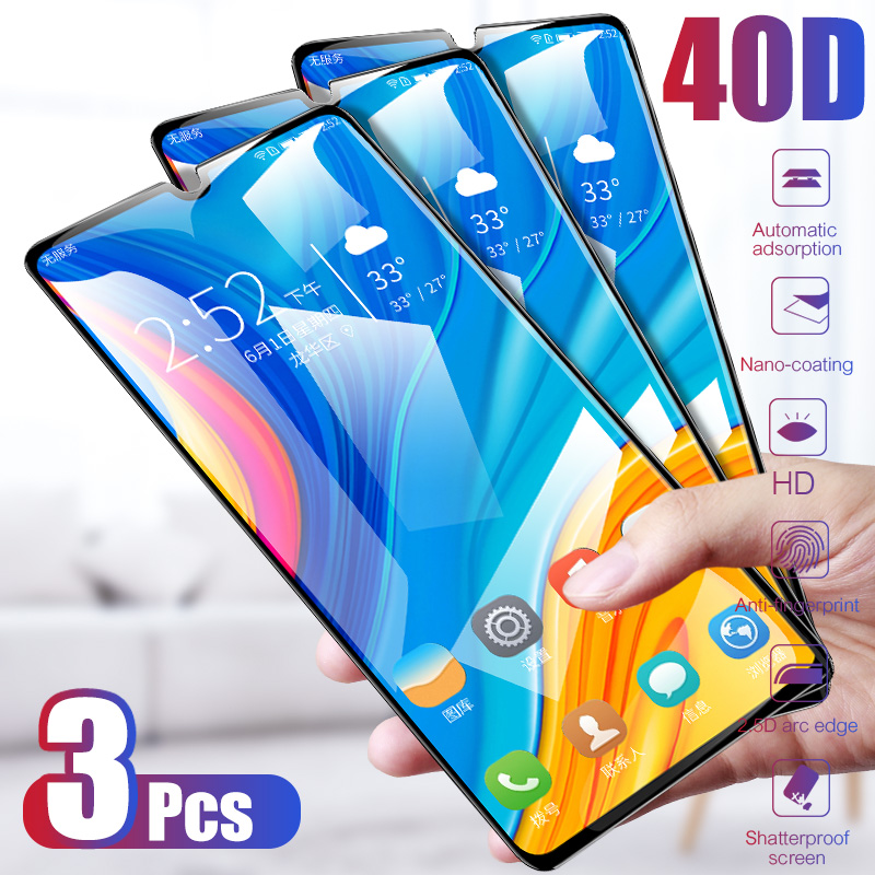 3Pcs 40D Tempered Glass For Huawei P20 Lite P30 P10 Lite Pro Screen Protector For Huawei Mate 20 30 Lite P Smart 2019 Glass Film