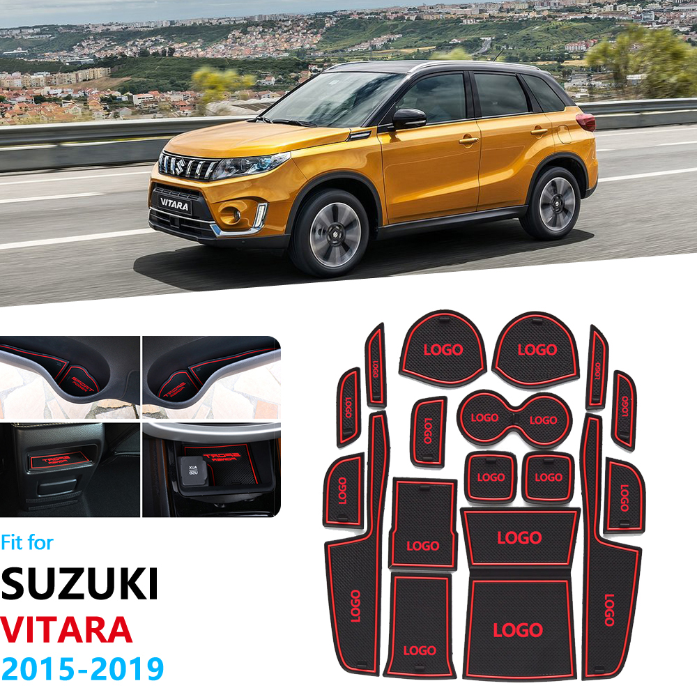 Anti-Slip Rubber Gate Slot Cup Mat For Suzuki Vitara 2015 2016 2017 2018 2019 LY Escudo Sport Coaster Accessories Car Stickers
