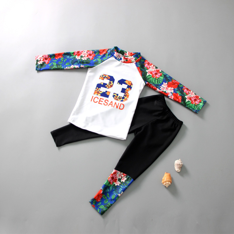 Korean-style Children Two-piece Swimsuits Korean-style GIRL'S Middle And Large Small CHILDREN'S Baby Long Sleeve Pants Students