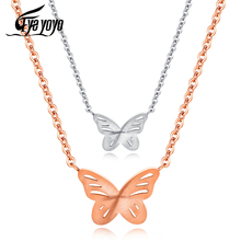 EyeYoYo Korean Version Of Simple Titanium Steel 2 Color Butterfly Necklace CD Pattern Clavicle Chain Ladies Animal Necklace