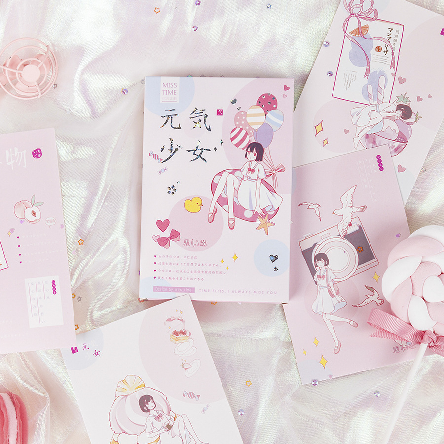 30 Pcs/Set Cute Gentle Girl And Cat Paper Postcard Greeting Card Message Card Birthday Letter Gift Card