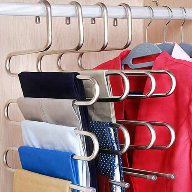 Negro Perchas Ropa Perchas giratorias de Acero Inoxidable de 360 Grados para Camisa de Vestir Pantalones Calcetines Perchas de Metal de Acero Inoxidable