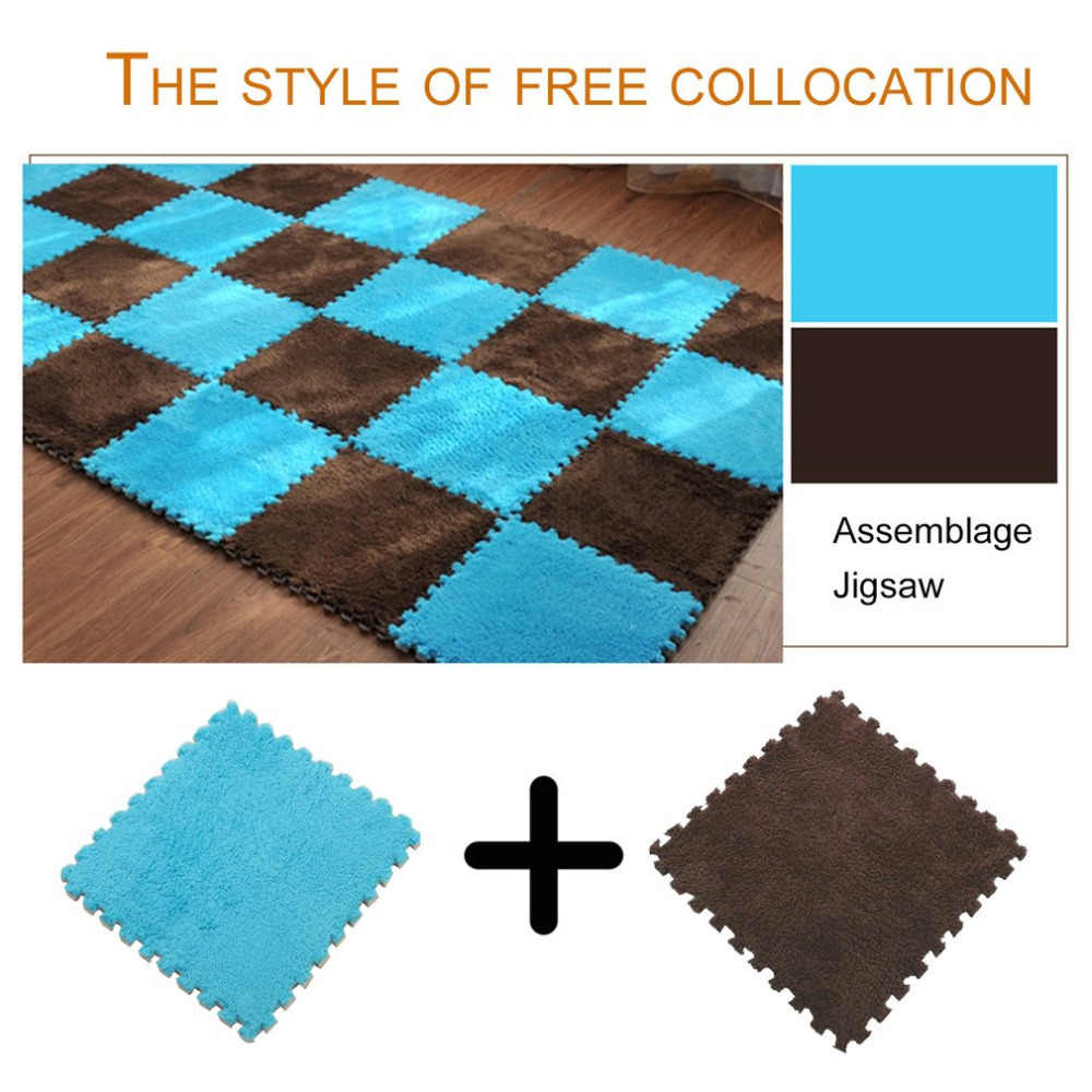 1PC 30x30cm Carpet Home Puzzle Mat EVA Foam Velvet Carpet Children Playmat For Bedroom Living Room Home Decoration 5 Colors