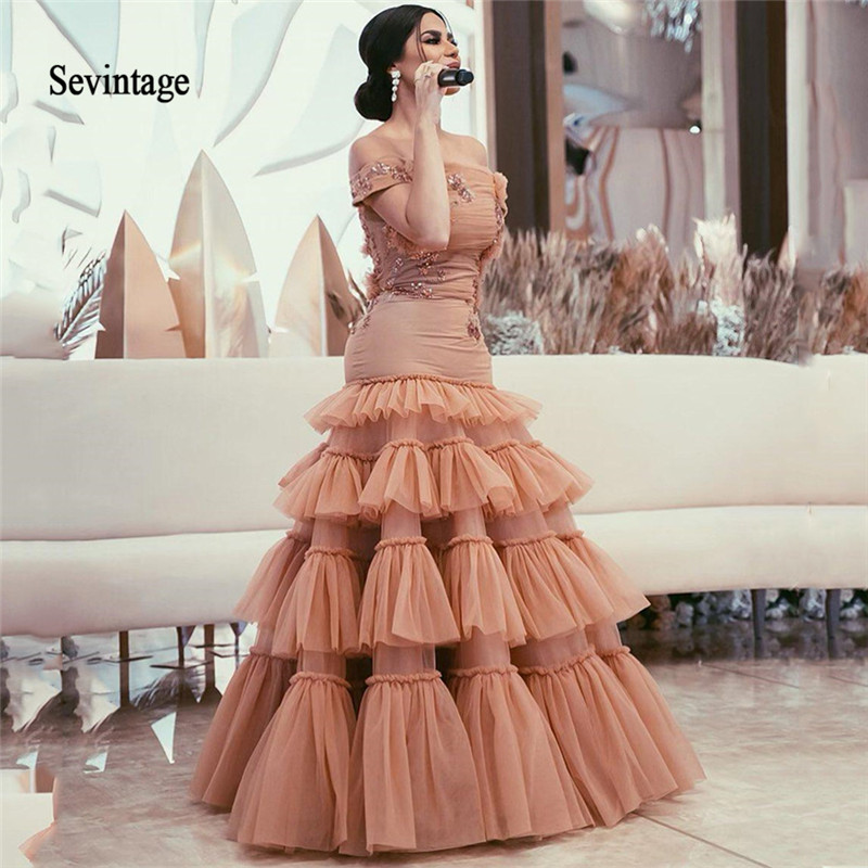 Sevintage 2020 Arabic Mermaid Celebrity Dresses Off The Shoulder Prom Dress Sequines Lace Tiered Skirt Evening Gowns