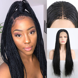 RONGDUOYI 500pieces Mirco Braided Box Braids Wig Middle Part Synthetic Lace Front Wigs For Women Long Hair Lace Black Wig