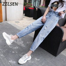 2019 Autumn New Boyfriend Pants Denim Trousers Women Hole Loose Straight Thin Female Jeans Women(China)