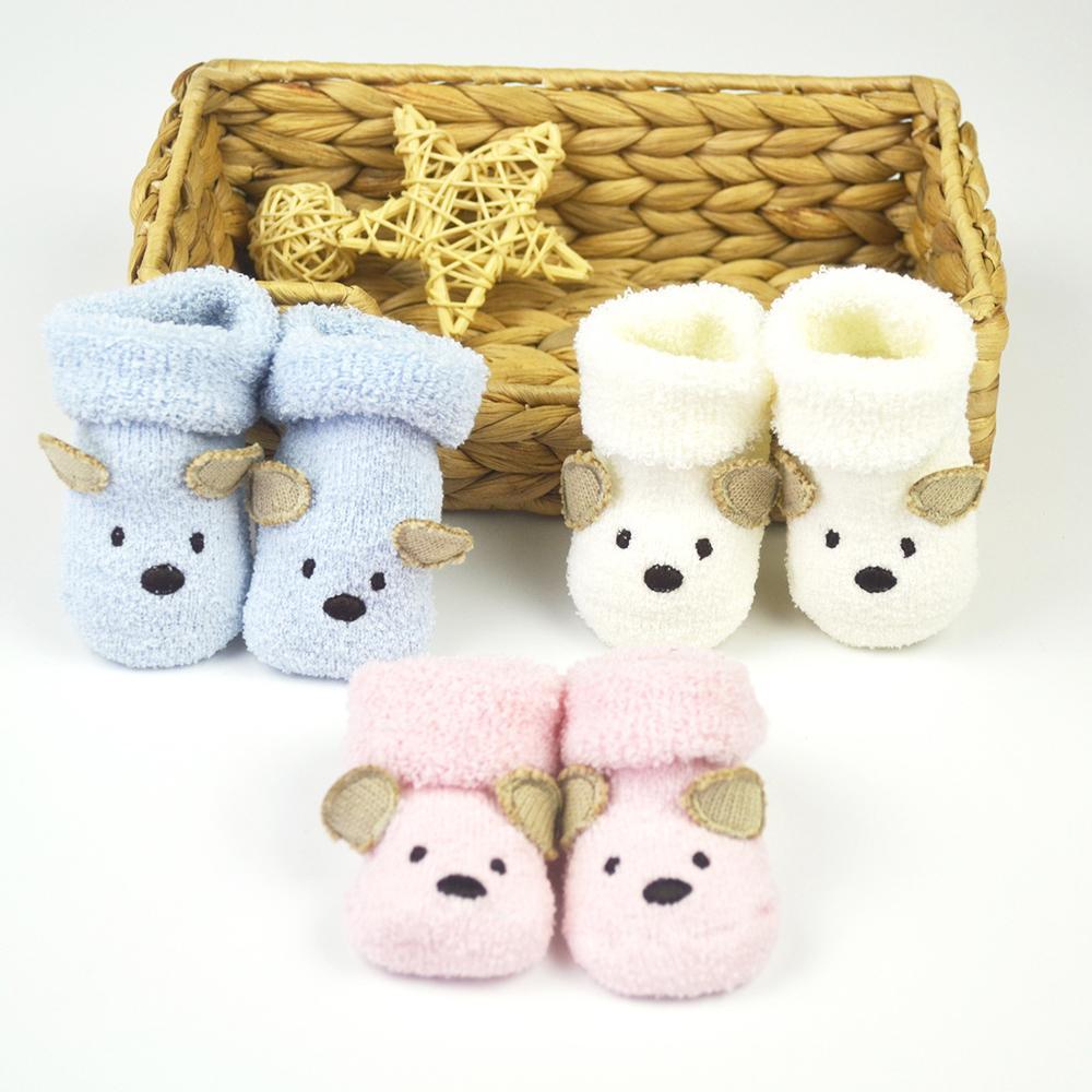 New 0-3 Months Cartoon Newborn Baby Cotton Shoes Unisex Infant Boy Girls Cute Bear Crib Animals Warm Shoes For Babies Gift