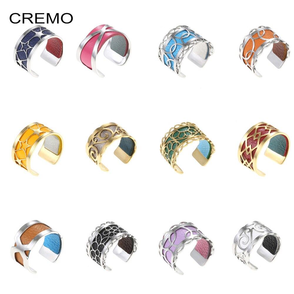 Bague acier inoxydable Cremo Bijoux Bague Femme Argent reglable anneaux cuir georgette interchangeables réversibles Mujer