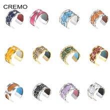Cremo – Bague en acier inoxydable pour Femme, bijou ajustable, en Argent, réversible, Interchangeable, en cuir
