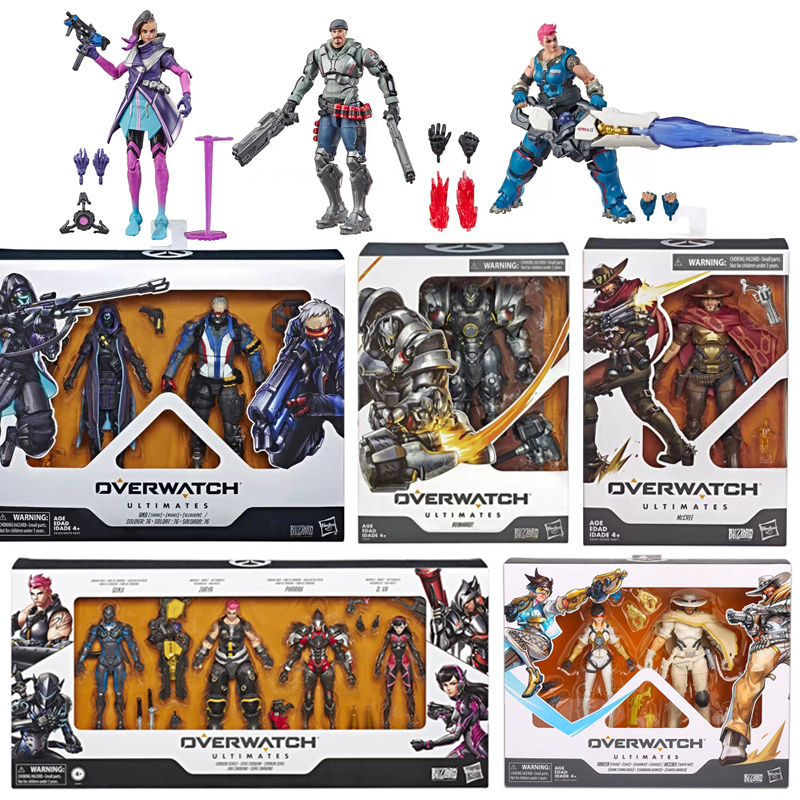 Hasbro Overwatch Action Figures Joint Movable Collections Reinhardt Wilhelm Pharah Mercy Soldier 76 Ana Amari Model Toys