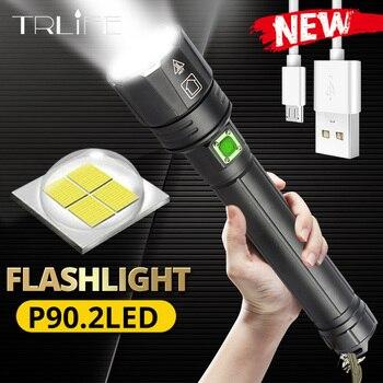 ¡Regalo de Año Nuevo 2020! Linterna LED XHP90.2 ultraliviana de 18650 pulgadas recargable por USB, luz táctica XHP70, linterna para campamento con Zoom 26650