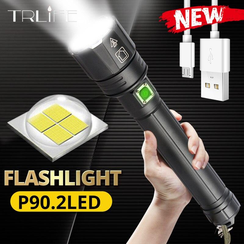 2020 신년 선물 xhp90.2 매우 강력한 18650 led 손전등 xlamp usb 충전식 xhp70 전술 빛 26650 줌 캠프 토치