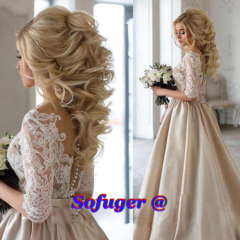 16 Elegant Champagne Aline Weddding Dresses Half Sleeves Appliques Illusion Bodice Bridal Gown Formal Wedding Gown Custom Made