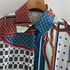 ZA 2020 New Fashion Women 3D print Folds chiffon shirt Blouses Turn-down Collar Long Sleeve Shirt Casual Loose Tops 5