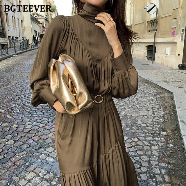 Elegant Long Sleeve A-line Turtleneck Dress  1