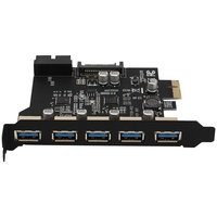 PCI-E to USB 3.0 19-Pin 5 Port PCI Express Expansion Card Adapter SATA 15Pin Connector with Driver CD for Desktop