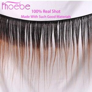 Image 5 - Phoebe 1B/27 4x4 مستقيم أومبير الدانتيل إغلاق الباروكة البرازيلي 100% خصلات الشعر المستعار الإنسان للنساء السود غير ريمي 150% الكثافة نسبة منخفضة