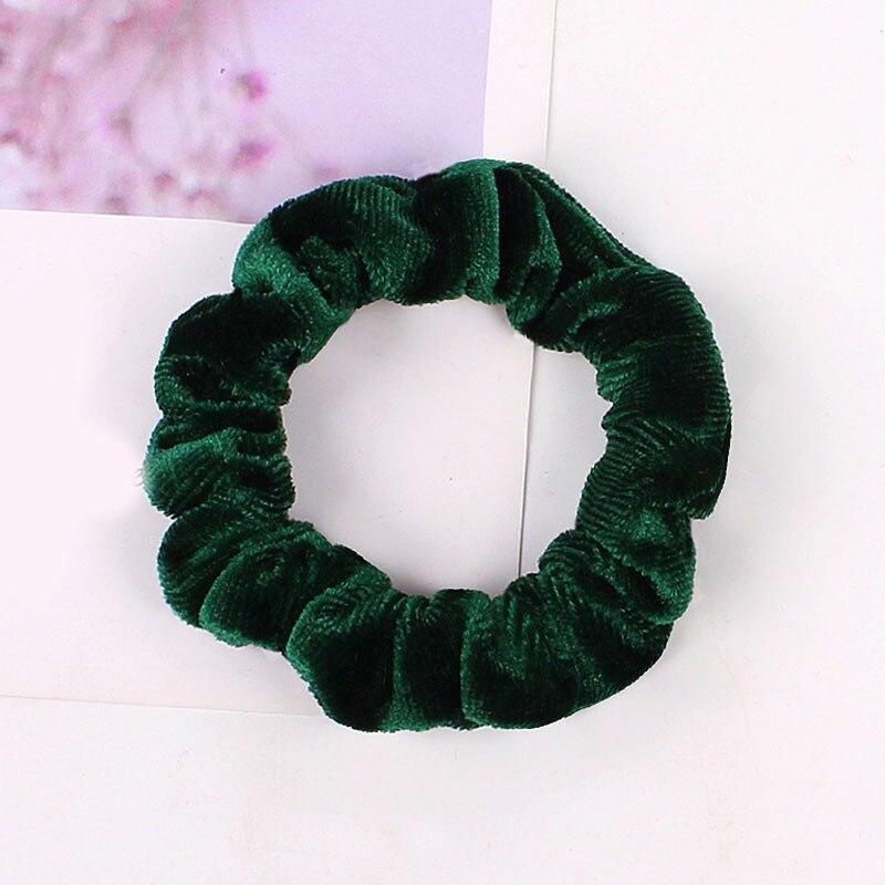 1 шт., женское эластичное кольцо для волос, зимние мягкие бархатные резинки, резинки для волос, милые одноцветные аксессуары для волос, держатель для конского хвоста - Цвет: Velvet-14
