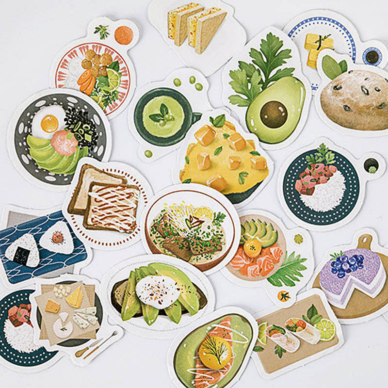 46Pcs Cute Stationery Stickers Kawaii Foods Decor Sticker Bullet Journal Sticker For Kids DIY Scrapbooking Diary Albums Supplies