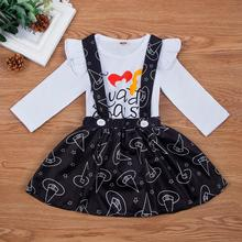 Cute Newborn Infant Baby Girls Halloween Long Sleeve Letter Print Romper+Print Skirt Outfit