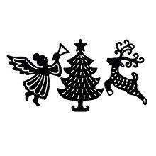 Naifumodo Christmas Tree Dies Elk Metal Cutting Scrapbooking for Card Making DIY Embossing Cuts Craft Letter