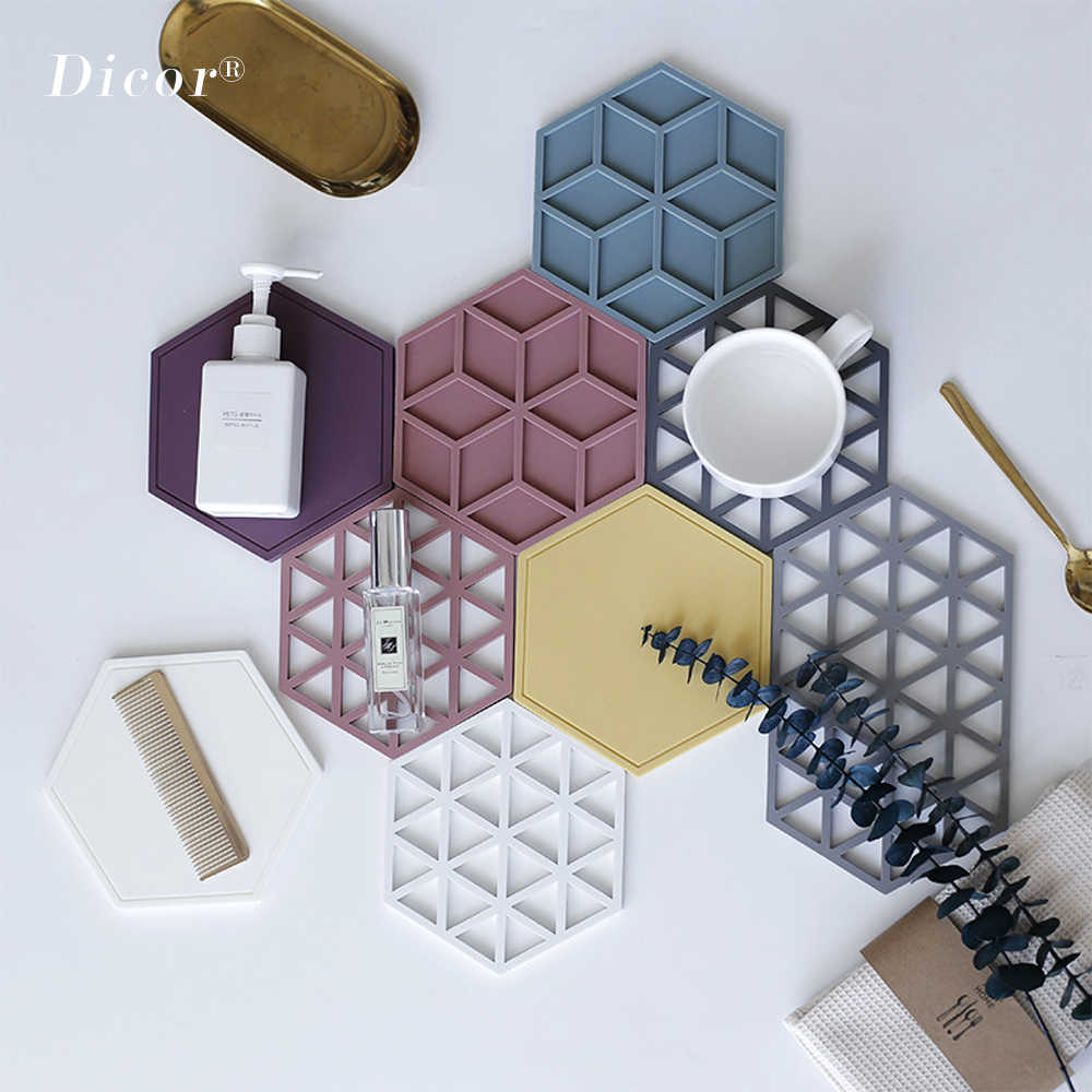 25Kinds Hexagon Silicone Cup Pad Insulation Heat Pad Hot Drink Cup Holder Mug Coasters Creative Nordic Style Kitchen Accessories