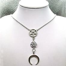 Crescent Moon Necklace, Moon Priestess, Inverted Pentagram, Upside Down Moon, Mysterious,esoteric,gothic, Gothic,Satanic Symbols недорого