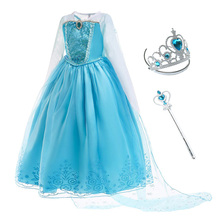 Girls Elza Princess Dress Kids Rhinestone Costume with Cloak Children Elsa Halloween Birthday Party Cosplay Clothing disney girls dress frozen elsa dress cloak costume princess vestido kids dresses cartoon cute lovely summer cosplay party dress