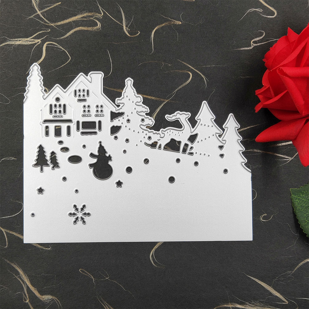 3pcs DIY Embossing Cutting Die Craft Frame Silver Stencil Decorative Scrapbooking Christmas Card High Carbon Steel Handmade Gift