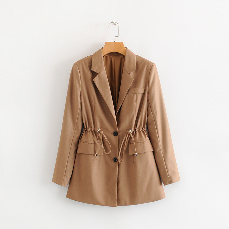 COZARII blazer mujer 2019 women solid notched collar pockets full sleeve single breasted casual style women blazers