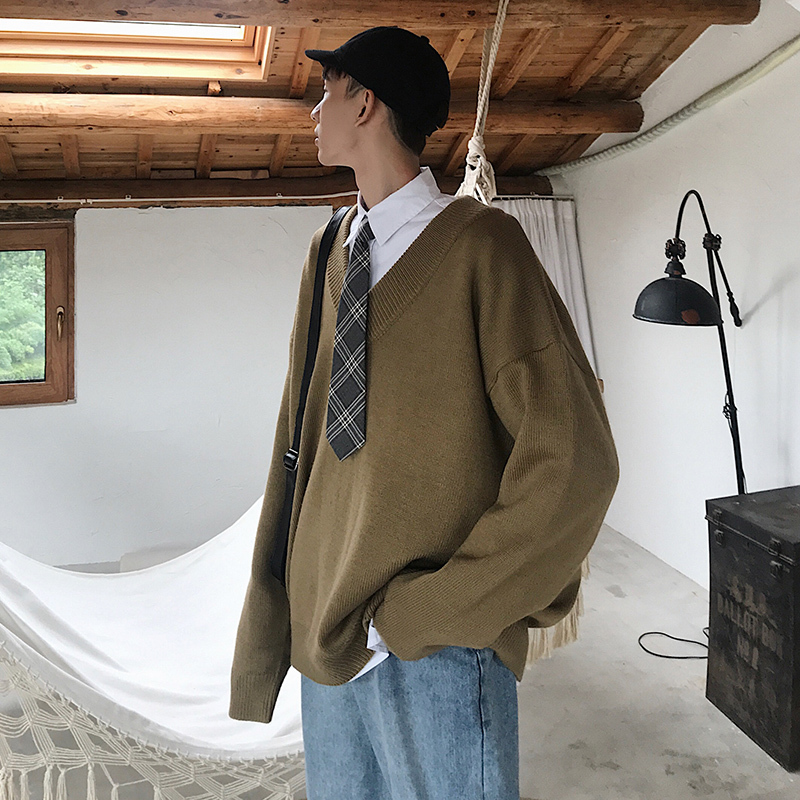 Winter Men's Loose Oversize In Warm Coats Cashmere Pullover Bf Wind V Collar Woolen Sweaters High-quality Casual Knitting S-XL