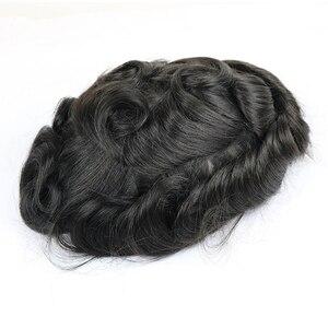 "Image 3 - Eversilky peruka damska z cienką skórą peruka 8 ""x 10"" 100% indyjskie ludzkie włosy Remy naturalne męskie System wymiany V Loop Mens wig"