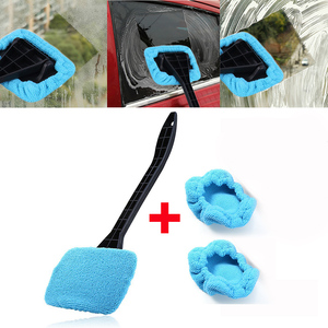 Image 1 - Car Window Windshield Wiper Microfiber Cloth Auto Window Cleaner Long Handle Car Washable Brush Clean Tool with extra 2pcs Cloth