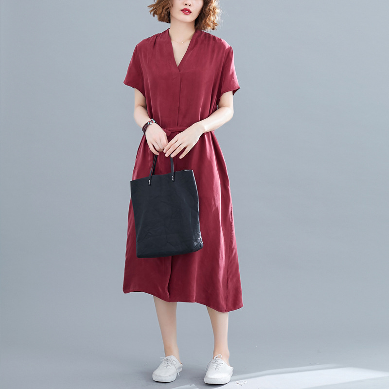 Photo Shoot Limit 59 New Style Long Over-the-Knee Cupro Elegant Dress Women's Summer Retro Loose Short Sleeve Medium-length Dres