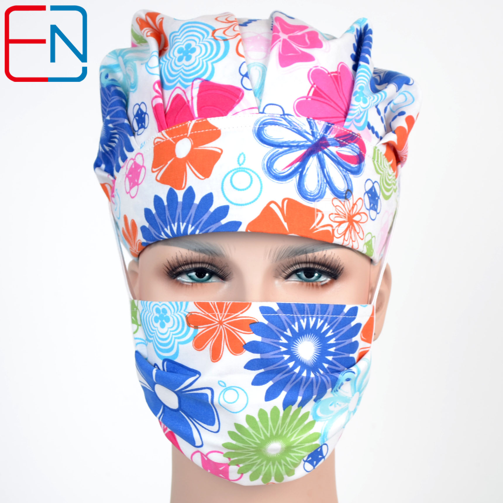 Hennar Surgical Scrub Caps Hot Sale Woman Adjustable Bouffant Caps Lab Hospital Doctor Medical Scrub Caps Nurse Cotton Printing