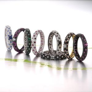 Image 5 - 산투 자 실버 링 여성용 순수 925 스털링 실버 멀티 컬러 CZ 링 Stackable Eternity Ring 트렌디 한 패션 쥬얼리