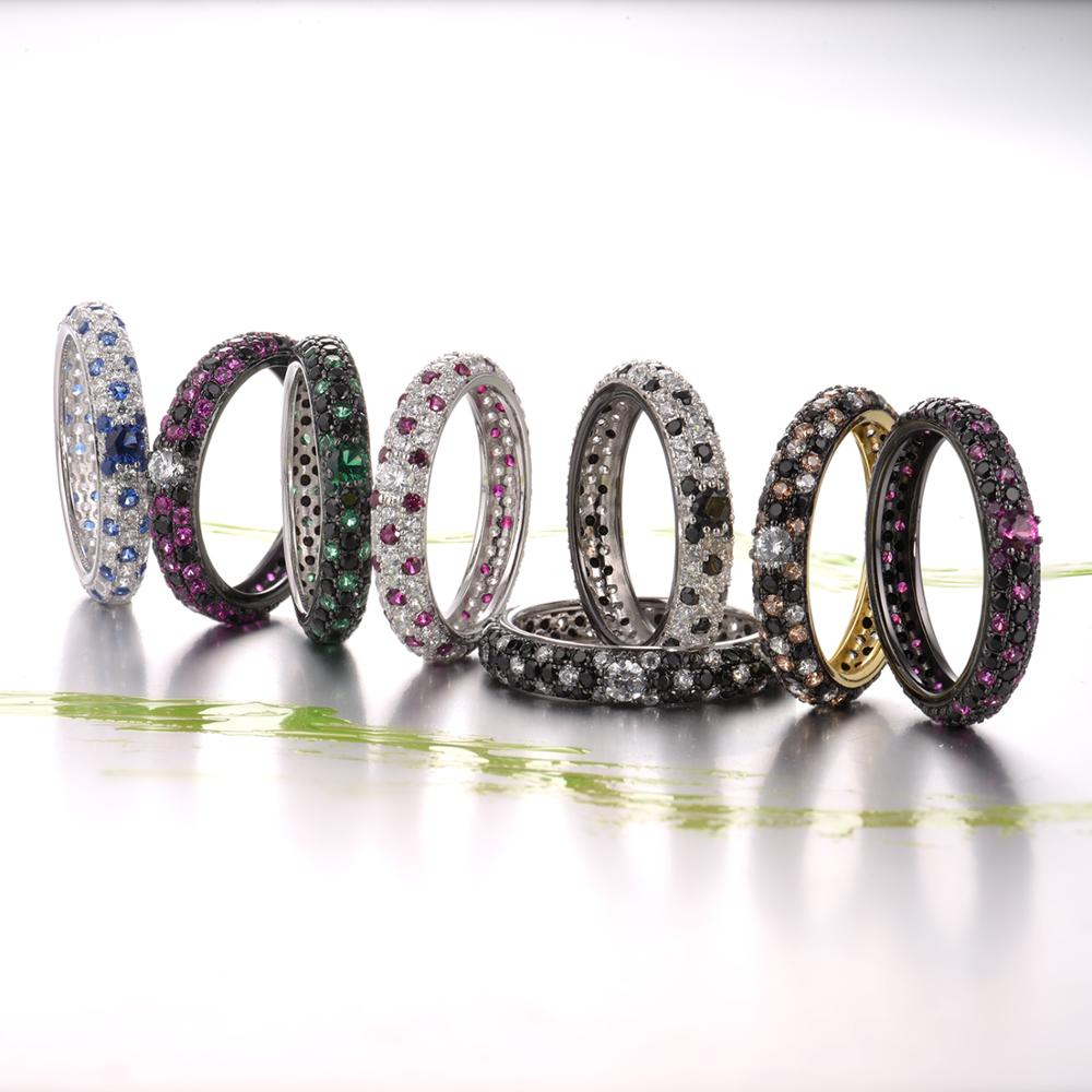 Image 5 - SANTUZZA Silver Rings For Women Pure 925 Sterling Silver Multi color CZ Ring Stackable Eternity Ring Trendy Fashion JewelryRings   -