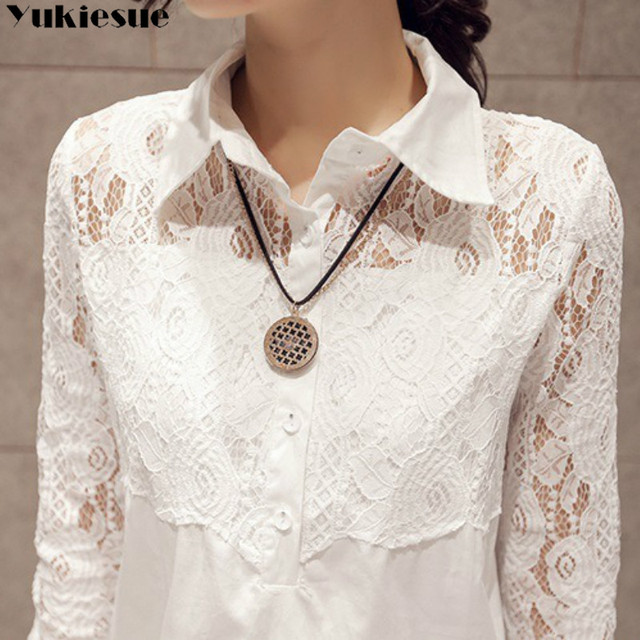 Casual Loose Women Shirts 2020 Spring New Fashion Plus Size Blouse Long Sleeve lace Buttons White Shirt Women Tops Streetwear 5