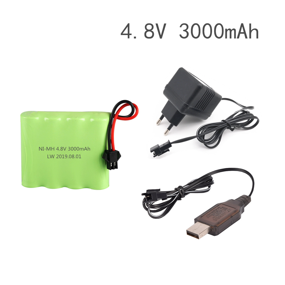 4.8v 3000mah NiMH Ni-MH Battery With  Charger For Rc Toys Cars Tanks Robots Boats Guns Ni-MH AA 4.8v Rechargeable Battery Pack