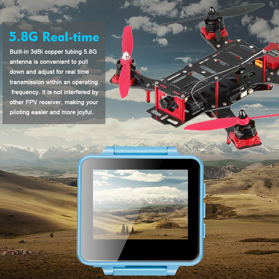 5.8GHz 48CH OSD Wearable Watch With 2inch LCD 960*240 Display FPV Receiver RC Racer DIY Racing Drone Real-time Transmission RX