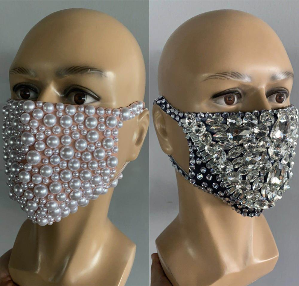 Fashion Rhinestones Masks Party Show Costume Performance Evening Club Dance Wear Singer Costume Stones Masks DWY3554