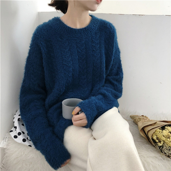 Ailegogo Winter Women Sweater Casual Thickness Warm Female Long Sleeve Loose Fit Pullovers Ladies Knitwear Tops 1