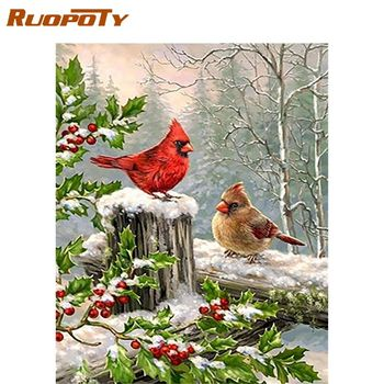 RUOPOTY 60x75cm Frameless Oil Picture By Numbers Kits For Adults Diy Gift Bird Animal Painting By Number HandPianted Home Decor