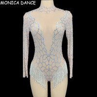 Women Sexy Stage Silver Rhinestones Fringes Backless Transparent Mesh Bodysuit Women Dancer DS Wear Birthday Celebrate Outfit