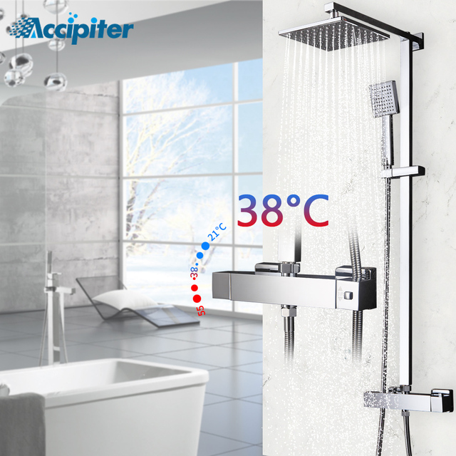$ US $100.00 Bathroom Shower Faucets Thermostatic Faucet Antique Brass Shower Set Faucet Hand Shower Square Hand Shower Chrome Finish.