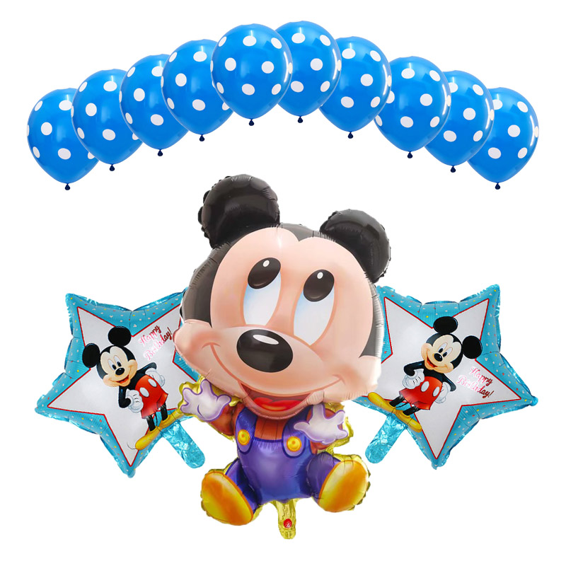 13pcs/lot Cartoon Mouse Balloons Party Decoration Combination Suit Point Latex Balloon Baby Shower Birthday Party Kid Toys Hat